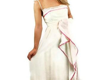 1960s maxi dress, peasant dress, prairie dress, white pink dress, romantic dress, wedding dress, size S