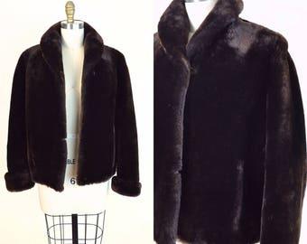 Vintage 1950s Fur Coat Mouton 50s Jacket Chocolate Brown