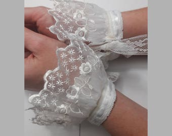 White Victorian Bridal/Steampunk/Cosplay Lace Cuffs