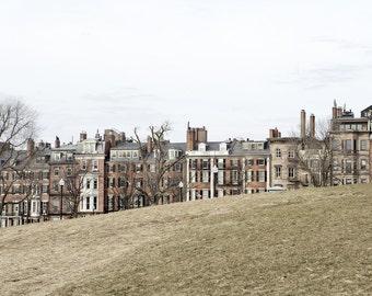 Boston Photograph, Architecture Print or Canvas Wrap, Beacon Hill, Massachusetts, Brick Row House, New England Art - Homes of Beacon Street
