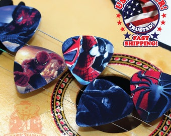 10 Spiderman Guitar Picks Double Sided ASSORTED DESIGNS--Create Your Own Guitar Pick Project--DIY Guitar Picks