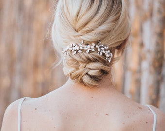 """Bridal Hair Accessories, Bridal Headpiece ~ """"Lela"""" Hand Beaded Flower Hair Vine in Silver, Gold, Rose Gold or Silver with Opal"""