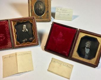 Whitman-Gardner Family Daguerreotypes, Group of Three Identified Antique Photos, 19th Century Photographs in Original Cases