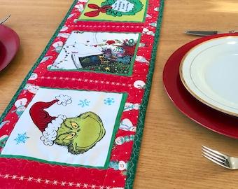 Grinch table runner, Grinch bed runner, Christmas table runner, free shipping