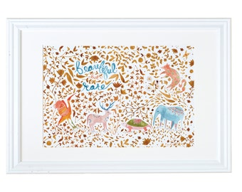 Endangered Species, Children's Art Prints, Beautiful but Rare, Nature Painting, Meera lee Patel