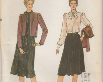 80s Bow Blouse, Skirt & Jacket Pattern Vogue 8055 Sizes 10 12 Uncut