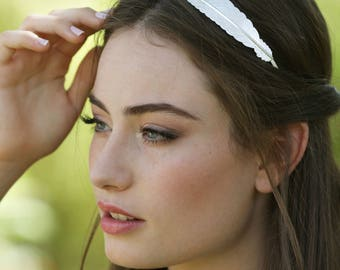 Silver Bridal Headband, Silver Feather Headband, Bridal Headpiece, Silver Bridal Hair Accessories, Bridal Hair Piece, Bridal Accessories
