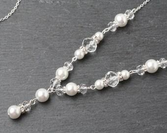 Bridal Necklace, Bridal Y Necklace, Crystal Wedding Necklace, Bridal Jewelry set, Pearl Wedding Necklace, Swarovski Crystal Y Necklace