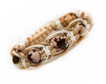 Jasper bracelet for Women Calming bracelet Calming jewelry Harmony bracelet  womens gift Knotted bracelet Womens coffee bracelet beige
