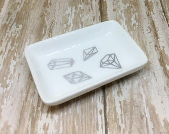 Small Silver Gemstone Rectangle Ring Dish Rectangle Trinket Dish Ring Dish Gift for Her Ring Holder Ring Dish Silver Gem Ring Dish Ring Dish