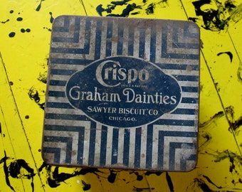 Crispo Tin,  Graham Dainties Sawyer Biscuit Co Tin,  Black White Stripes tin,  Chicago Advertising, Litho Tin, Cottage Chic Decor