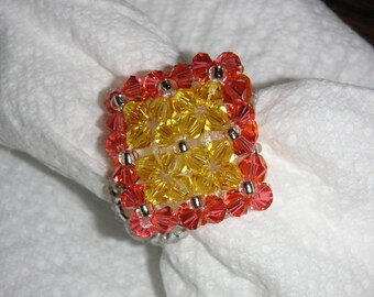 "SWAROVSKI RING ""LINA YELLOW AND ORANGE"""