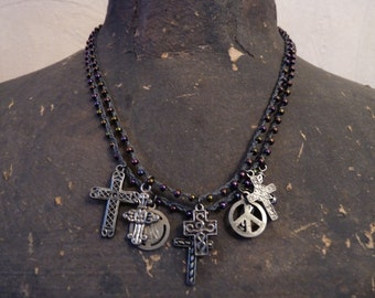 Hand Braided Waxed Linen Double Strand Cross Necklace