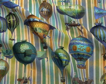 Steampunk Fabric - Aviation Flotation Over Stripes By Bzbdesigner - Steampunk Hot Air Balloon Cotton Fabric By The Yard With Spoonflower