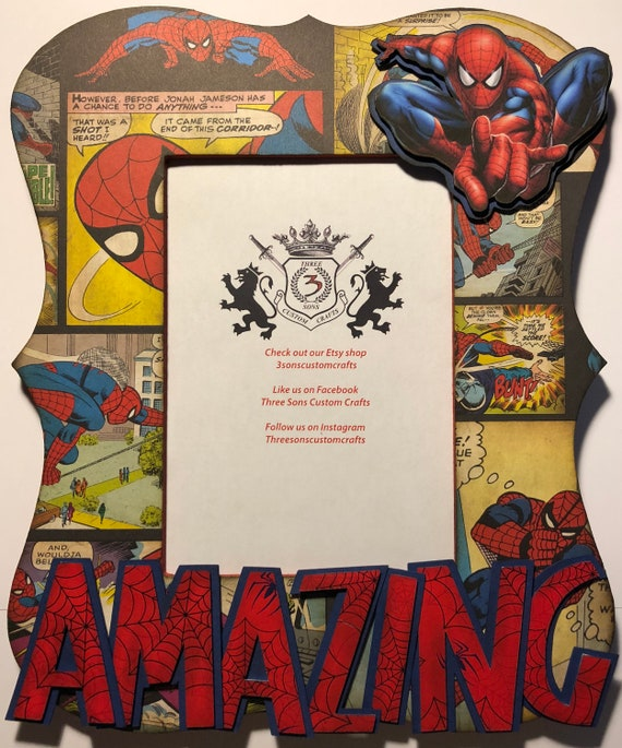 Amazing Spiderman Comic Frame from 3sonscustomcrafts on Etsy Studio