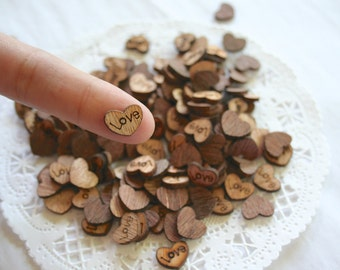 LOVE Wooden HEARTS Confetti, Wedding Decor, Rustic, Tiny Wood Hearts, Wedding
