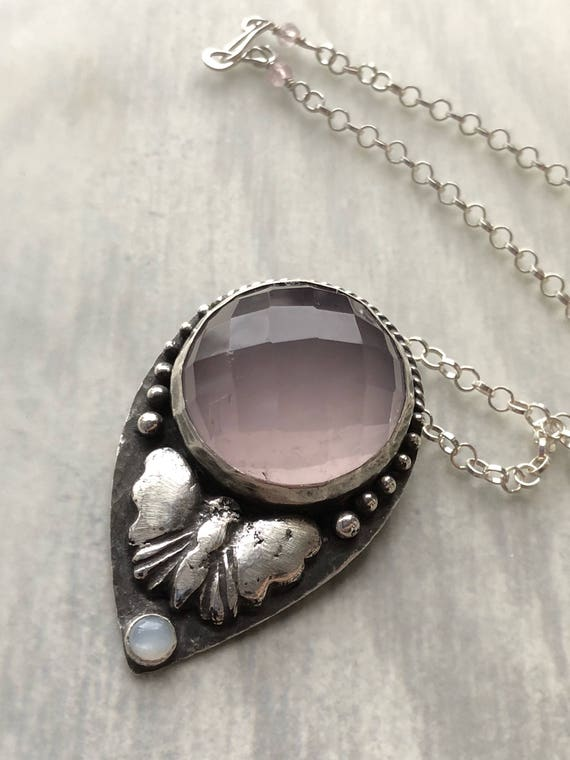 Mineral & Menagerie Collection: Rose Quartz and Moonstone Butterfly Statement Pendant, Huge Pink Gemstone, Sterling Silver Animal Talisman