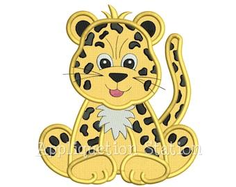 Zoo Baby Leopard Applique Machine Embroidery Design Jungle Boy Girl Cute Safari Cheetah animal INSTANT DOWNLOAD