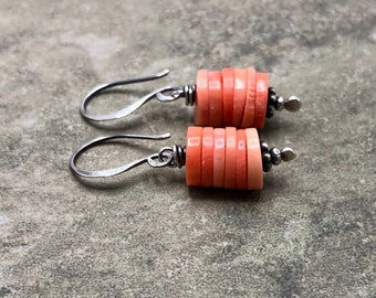Coral Stack - Coral and Sterling Silver Earrings