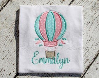 Personalized Hot Air Balloon Shirt, Girl's Hot Air Balloon, Hot Air Balloon Applique Shirt