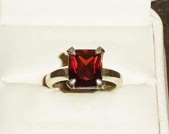 Natural Red Garnet, Emerald cut size 9 ring, set in solid .925 Sterling Silver