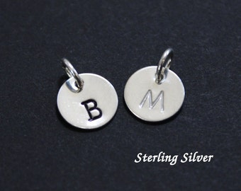 """Sterling silver initial charm - 9.5mm (3/8"""") - round - add-on charm - personalized initial charm"""