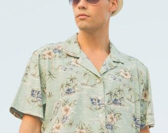 Vintage men's top, Vintage Hawaiian shirt, Men's Top, Men's Green Shirt, Men's Vintage top, Men's Hawaiian shirt, Men's floral top - XL