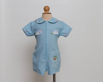vintage 70s baby boy romper with lion 60s/70s