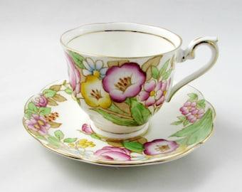 "Royal Albert ""Bouquet"" Tea Cup and Saucer, Vintage Bone China"
