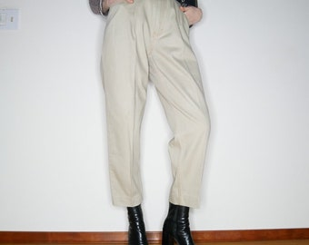 Qt 90s pleated denim khaki pants size M