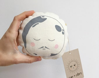 Modern baby rattle,  Moon print baby toy, Organic baby toys, Gender neutral baby gift.