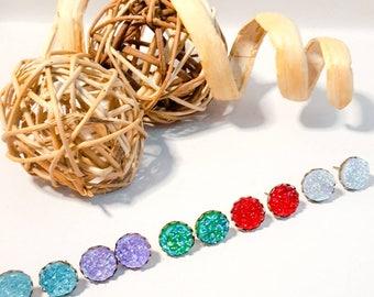 Sparkly studs,faux druzy studs,  antique brass, brass studs, sparkly glitter, faux druzy,druzy earrings, druzy studs, druzy jewellery,