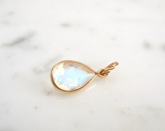 Moonstone Pendant, Pear Moonstone Necklace, Pear Shaped Moonstone, 14 k Yellow Gold, Sterling Silver, Rainbow Moonstone, Blue Moonstone