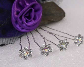 CLOSEOUT! Flower Shaped Crystal Hair Pins