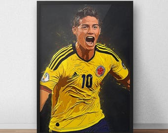 James Rodriguez - James Rodriguez - Real Madrid Poster - Colombia Football - Colombian poster, World cup poster - Soccer Poster - Soccer Art
