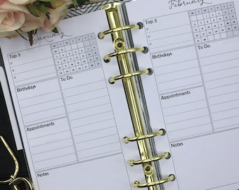 Personal Monthly Planner Inserts. Suit Medium Kikki-K or filofax. Month on one page (MO1P)