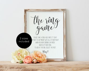 The Ring Game, Bridal Shower Game Sign, Bridal Shower Sign Template, Bridal Ring Game, Ring Game Sign, Instant Download, WLP768