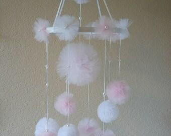 pom pom mobile, tulle pom poms, nursery decoration for a girl, pom pom baby mobile, baby shower gift, baby shower decor, baby girl