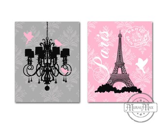 Chandelier Paris Eiffel Tower Art Prints Modern Floral Nursery Prints Wall Decor, Set of Two Prints