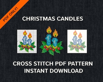Christmas Candles Cross Stitch PDF only for instant download