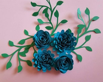 Set of 10 Rolled Paper Flowers, Shadow Box Flowers, Table Decor, Flower Centerpiece