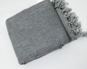 Stonewashed turkish towel, Turkish towel, cotton turkish towel,hammam towel, peshtemal, bath towel, grey turkish towel, yoga towel, spa- gym