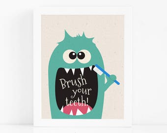Monster Printable Wall Art, Funny Bathroom Art, Funny Gift, Kids Bathroom Decor, Instant Download, Kids Wall Art, Digital Print