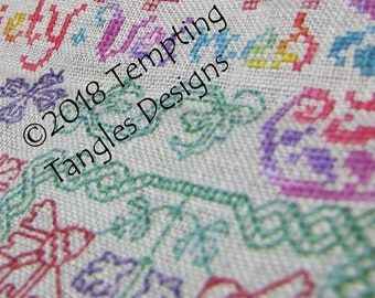 Rainbow Ruminations Cross Stitch and Blackwork stitch along SAL/ variegated/ monochrome/  jacobean/flowers fruit borders butterfly iris