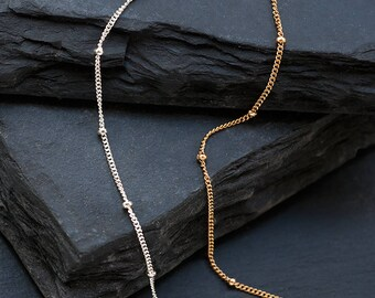 Dew Drop Layering Necklace, Dainty Beaded Satellite Chain, Boho Chic Jewelry, Minimalist Choker, Gold Beaded Chain, Layering Necklace