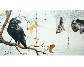 Art Print: Caught in a Net. Limited edition, raven, corvid, sparrow, net, three eyed raven, GOT, birds, pop surrealism, lowbrow, visionary