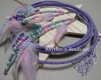 FEATHERED MANE BEADS, Easter Parade, Native American, Horse Mane Feathers,Rhythm Beads, Parade Horse Tack, Horse Tack
