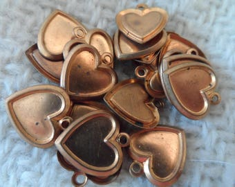 """Copper coated steel stamped heart charms,1/2"""",20pcs-CHM88"""