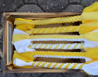 Yellow Fleece Dog Toy//Yellow Square Braided Dog Toy//Yellow Spiral Braided Dog Toy//Durable Fleece Dog Toy//Four Strand Braided Dog Toy