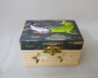 Wedding Ceremmony Party Fisherman Fishing Custom Ring Pillow Box